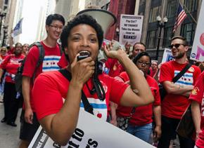 Chicago Teachers Union members on the march through downtown streets