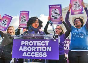 Representatives of the National Network of Abortion Funds rally outside the U.S. Supreme Court