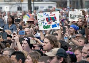 Supporters of Bernie Sanders at a campaign event in North Carolina