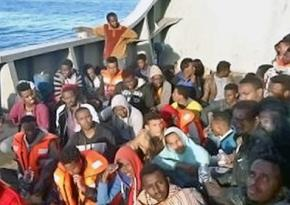 Survivors from a boat that capsized crossing the Mediterranean from Libya to Europe