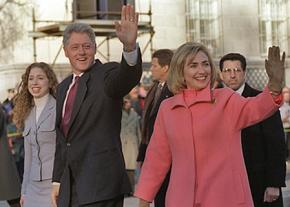 The Clintons on parade for Bill Clinton's inauguration in 1997