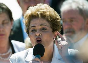 Brazil's President Dilma Rousseff speaks against the impeachment drive