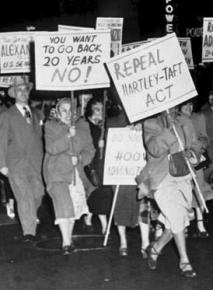 Members of the International Ladies Garment Workers Union march against Taft-Hartley