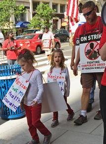 Verizon strikers and their young supporters take to picket lines in Washington, D.C.