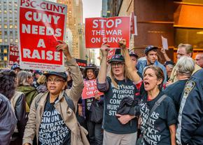 Members of the PSC at CUNY up the pressure for their demands