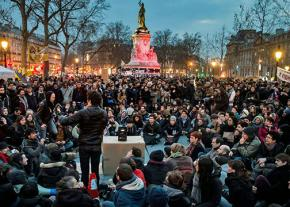 Masses of mainly young people continue to occupy the Place de la République each evening