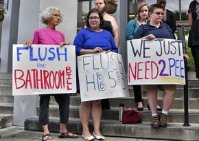 Protesters in Gainesville, Florida, raise their voice against an anti-trans bill