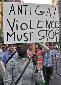 In the streets of New York City to protest violence against LGBT people