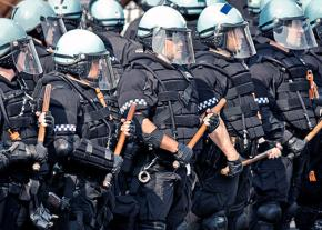 Chicago police clad in riot gear during protests against the NATO summit