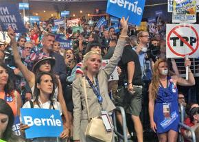 Sanders supporters at the Democratic convention in Philadelphia
