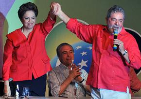 Dilma Rousseff and Luiz Inácio Lula da Silva at a Workers' Party convention