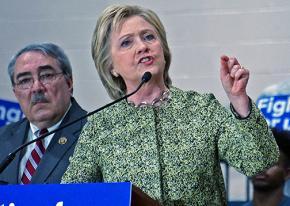 Hillary Clinton speaks at a North Carolina high school