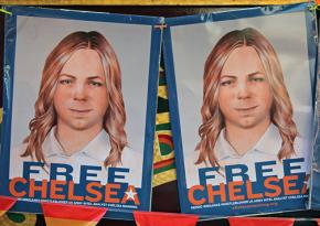 A banner for Chelsea Manning at the San Francisco Pride Parada
