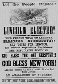 A Republican campaign newspaper celebrates Abraham Lincoln's election in 1860