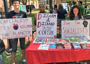 A table for the International Socialist Organization at Ohio University in Athens