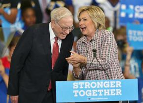Warren Buffett and Hillary Clinton on the campaign trail