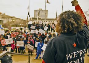 Fight for 15 activists demonstrate for a living wage in Milwaukee