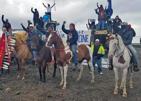 Activists shut down pipeline construction near the Standing Rock Sioux Reservation