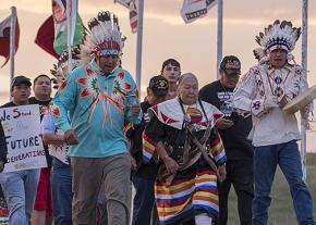 Native activists from the Aaniiih and Nakoda nations protest the Dakota Access Pipeline