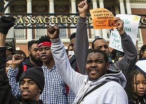 Boston high school students rally against budget cuts to the public school system