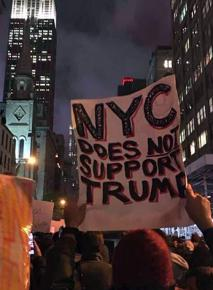 Demonstrators took to the streets in New York City on the day after the election