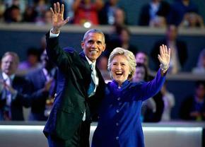 Hillary Clinton and Barack Obama on stage at the Democratic National Convention