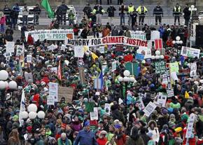 A mass rally for climate justice in the Canadian capital of Ottawa