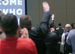 Attendees of an alt-right conference in Washington, D.C., perform the Nazi salute to celebrate Trump's election