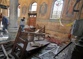 The aftermath of the explosion at a Coptic Christian cathedral in Cairo