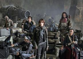 Rebel fighters led by Jyn Erso (center) prepare for an attack in Rogue One: A Star Wars Story