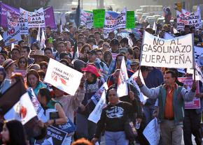 Mass protests in Mexico City against President Enrique Peña Nieto's planned gas price hikes