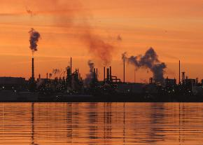 An oil refinery in operation on Canada's east coast