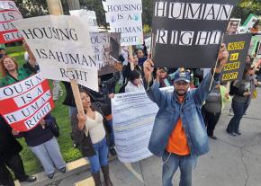 Demonstrators speak out for an affordable housing ordinance