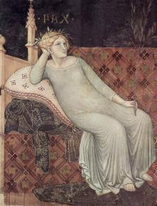 The figure of Peace in Allegory of Good Government (1338-1339), by Ambrogio Lorenzetti. Image courtesy Wikimedia Commons