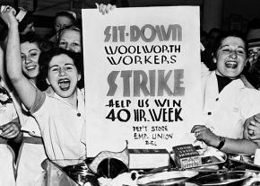 Retail workers at Woolworth occupy their store during the great sit-down strike wave of 1937