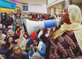 Speaking out against Trump's anti-Muslim ban in the Columbus International Airport