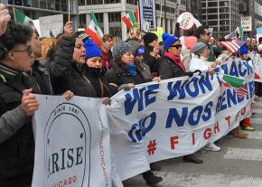 """Marching in the streets in Chicago for the """"Day Without Immigrants"""""""