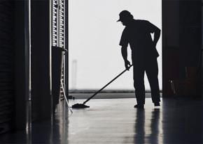 A custodial employee at work