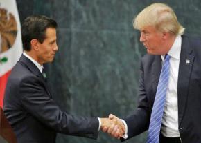 Donald Trump meets with Mexican President Enrique Peña Nieto (left) in 2016