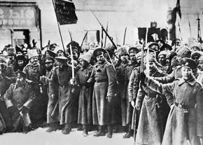 Russian soldiers celebrate the end of Tsarist rule following the February Revolution