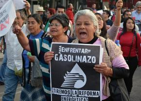 Protesters march in Mexico City against gas price hikes and government corruption