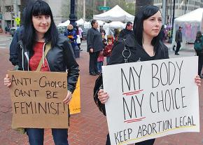 Abortion rights activists in San Francisco protest the protect the right to choose