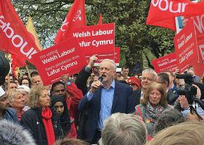 British Labour Party leader Jeremy Corbyn addresses a rally in Cardiff