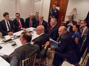Donald Trump meets with his national security team after ordering missile strikes in Syria