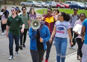 Students at SUNY Binghamton protest against the expansion of police surveillance