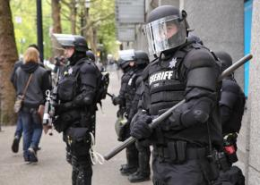 Riot cops at the May Day demonstration in Portland