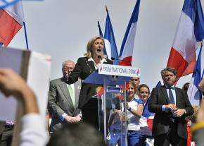 Marine Le Pen addresses a rally of the National Front