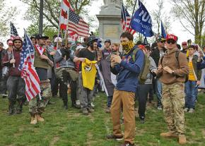 Far-right demonstrators rally on the Boston Common