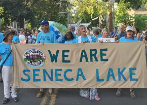 Climate activists march against fossil fuel development in Seneca Lake, New York