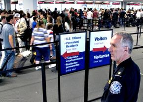 In line for customs at the airport